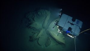 Deep Discoverer investigates an extrusion of tar from the seafloor. Credit: NOAA OER