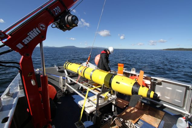 AUV operations from the Annie. Credit: Dave Lovalvo