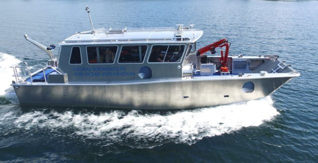 Research Vessel Annie currently works in Yellowstone Lake, but can travel to other locations. Credit: Munson Boats
