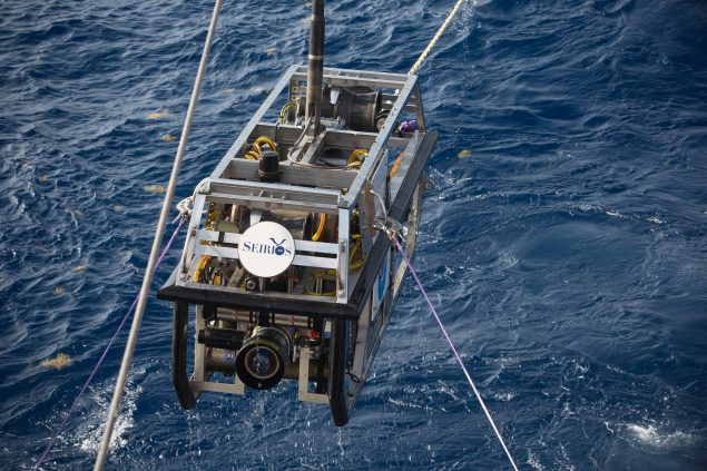 Recovery of the ROV Seirios. Credit: NOAA OER